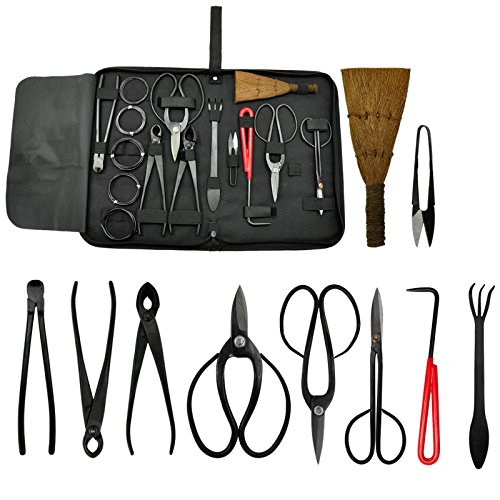 Voilamart 10 Piece Bonsai Tool Kit with Case, Carbon Steel Scissor Cutter