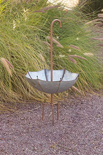 Alpine Corporation Rustic Metal Inverted Umbrella Flower Planter