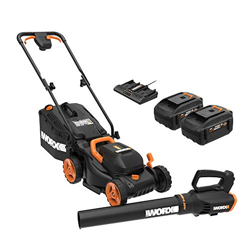 WORX 14-inch 40V (4.0AH) Cordless Lawn Mower and Power Share Cordless Turbine Blower Battery and Charger Included WORX WG958 14-inch 40V (4.0AH) WG779 Cordless Lawn Mower and WG547.9 Power Share Cordless Turbine Blower Battery and Charger Included.