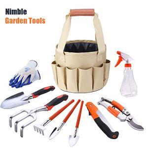 Garden Tools Set - Collapsible Gardening Bag,10 Piece Heavy Duty Gardening Kit
