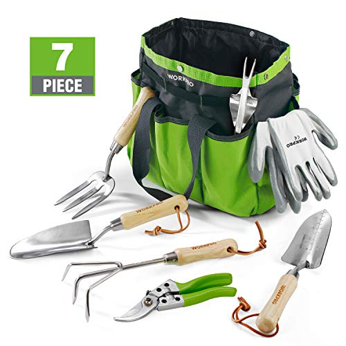 WORKPRO Garden Tools Set, 7 Piece, Stainless Steel Heavy Duty Gardening Tools