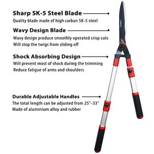 """gonicc Professional Adjustable 25""""+ 8"""" Hedge Shears gonicc Professional Adjustable 25""""+ 8"""" Hedge Shears. with Wavy SK-5 Steel Blade and Shock Absorbing Desig, Adjustable Blade Pressure, Garden Pruning Hand Hedge Trimmers Clippers Shears Loppers."""