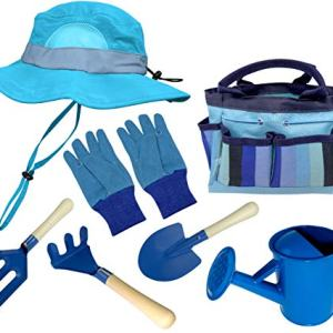 Kids Garden Set & Bucket Hat Combo: Real Metal Tools & Wooden Handles