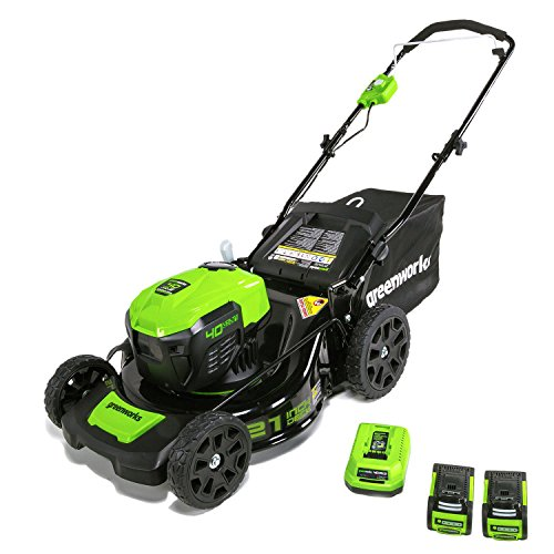 """GreenWorks Electric Lawn Mower, 40V 21"""" Batteries Included"""
