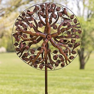 Outdoor Tree of Life Metal Garden Wind Spinner Kinetic Sculpture