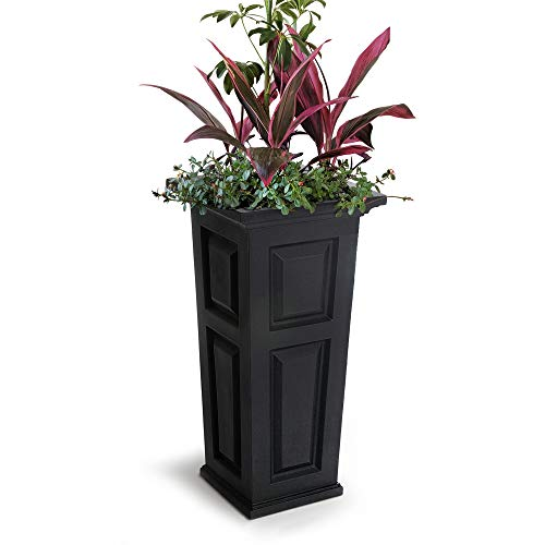 Mayne Nantucket Tall Planter, 15.5 by 15.5 by 32-Inch, Black