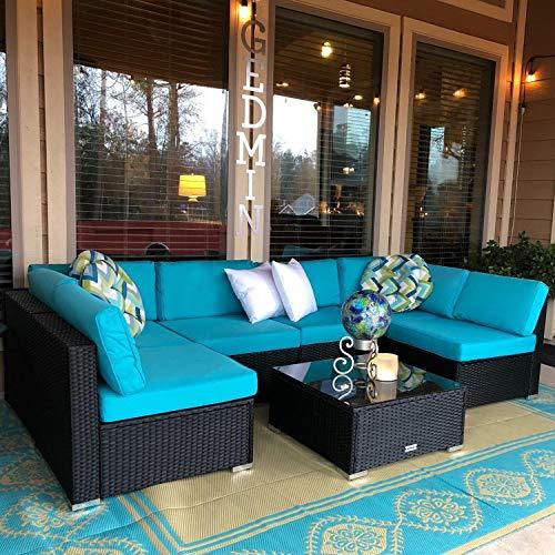 Peach Tree 7 PCs Outdoor Patio PE Rattan Wicker Sofa Sectional Furniture Set