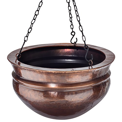 H Potter Hanging Brass Planter with Antique Finish and Chain Outdoor Small Plant