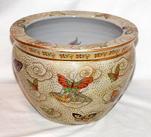 """New 10"""" Oriental Colorful Butterfly Butterflies Themed Fish Bowl Jardiniere Planter"""