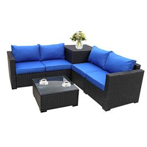 Outdoor PE Wicker Furniture Set 4 Piece Patio Black Rattan Sectional Loveseat