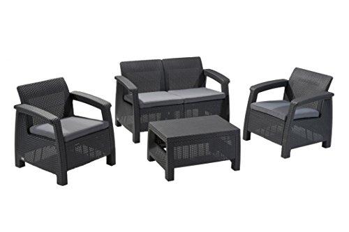 Keter Corfu 4 Piece Set All Weather Outdoor Patio Garden Furniture w/ Cushions