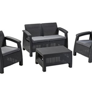 Keter Corfu 4 Piece Set All Weather Outdoor Patio Garden Furniture w/ Cushions