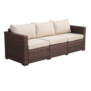 3-Seat Patio Wicker Sofa - Outdoor Rattan Couch Furniture w/Steel Frame