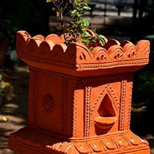 Village Decor Handmade Terracotta Clay Gardening/Brindavan Tulasi