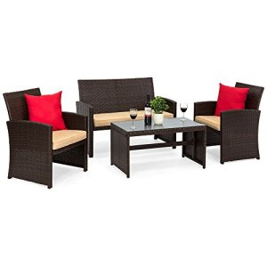 Best Choice Products 4-Piece Wicker Patio Conversation Furniture Set