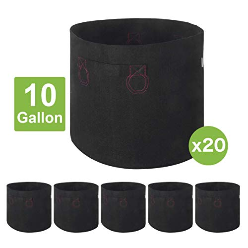 IDIGAO 20-Pack 10 Gallon Grow Bags 10 Gallon Fabric Pot for Plants Breathable