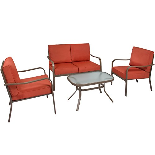 Best Choice Products 4-Piece Cushioned Metal Conversation Set