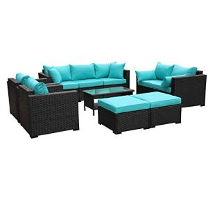 Outdoor PE Wicker Furniture Set -7 Pcs Patio Garden Conversation Cushioned Seat