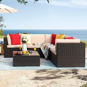 Homall 6 Pieces Patio Furniture Sets Outdoor Sectional Sofa All Weather