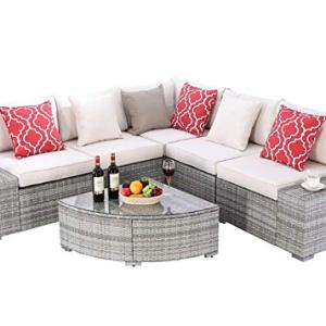 Do4U 6 Pieces Outdoor Patio Furniture Sectional Conversation Set