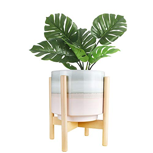 "10"" Plant Pot and Wood Plant Stand Indoor, Mid Century Modern Large Ceramic"