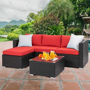 Walsunny Outdoor Furniture Patio Sets,Low Back All-Weather Small Rattan
