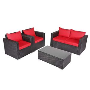 Kinbor 4 PCs Rattan Patio Outdoor Furniture Set Garden Lawn Sofa Sectional Set