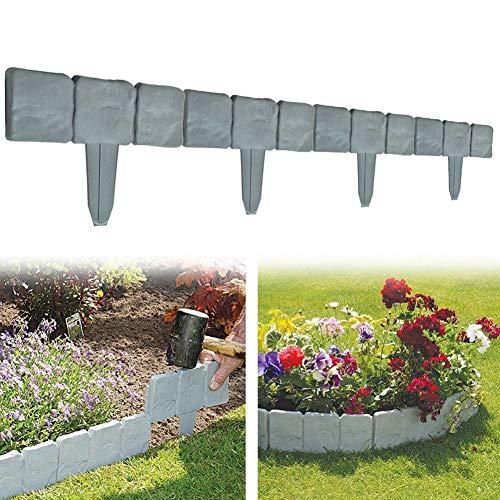 Garden Plastic Fence Edging - 10 or 20 pcs Cobbled Stone Effect Lawn Edging Plant