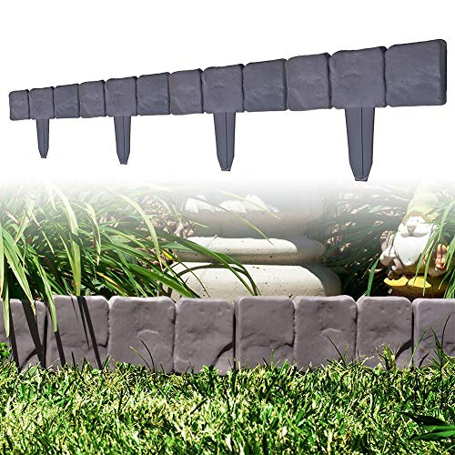 Garden Plastic Fence Edging - 10 or 20 pcs Cobbled Stone Effect Lawn Edging Plant ?Faux Cobbled Stone Effect&Plastic Garden Edging?Made of practical plastic, not blistering, no peeling, no corrosion. Use to Trim sidewalk, flower bed or ring a tree trunk with a faux cobblestone. Easy to fix,create a neat, attractive garden.Keep your lawn and flowerbeds neatly separated with this attractive hammer-in edging. ?Aesthetic Design& Adjustable Edging Palisade Trellis?The gray color simulates a real rock formation, and its muted shade acts as a neutral contrast against the greens and browns of gardens. This landscape edging easily adjusts, allowing users to create right angles, curves, and bends, molding their gardens to their preferences. This lawn edging evokes a natural look with a minimalist design and subtle charm. ?Quick and Easy to Install?This lawn edging has an upscale stone appearance, it's simple and Easy apply, just hammer-in or insert it into the ground. Quick and Easy to Install simply slot the fence panels together and push the bottom spike into soft ground. Great decoration for your garden, lawn. ?Trim-free Edging&Garden Decoration?This stone edging has a unique trim-free flange on the side of each piece. This feature prevents grass growth close to the edging and gives lawn mowers a surface to travel on- saving the user from unnecessary work each time they mow. Easy clean and maintenance. ?Package include?10 or 20 pcs x fence; Each fence size about 25x23cm, Plastic Garden Edging Border, Weatherproof and reusable, Give your flowerbed, lawn or garden path a smart 'stone' border. Weather Resistant Plastic Cobble Stone Garden Edging Border -Grey Stone Effect Lawn Edging, Plant Bordering, Hammer In Cobblestone Garden Border, Flower Bed & Grass - Faux Cobbled Stone Garden Edging -Garden Fence Edging Cobbled Stone Effect Plastic Lawn Edging Plant Border DIY Decorative Flower Bed Border for Landscaping Walkways, Stone Trim - Plastic Garden Edging Border, Grey Cobbled