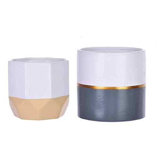 2PC White Sturdy Ceramic Flower Pot Garden Planters Indoor Flower Plant Containers,Ship from US Warehouse