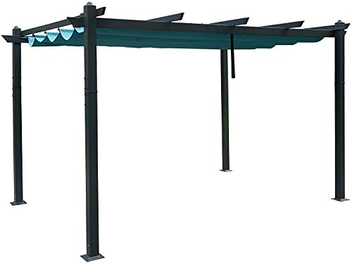 Kozyard Atlantics Outdoor 10'x13' Extra Large BBQ Grill Pergola with Sun Shade Gazebo Canopy Beige Canopy,UV Resistant Fabric (10ft x 13 ft Blue)