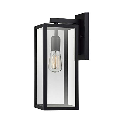 """Globe Electric 44176 Bowery 1-Light Outdoor Indoor Wall Sconce, Matte Black, Clear Glass Shade, 16"""""""