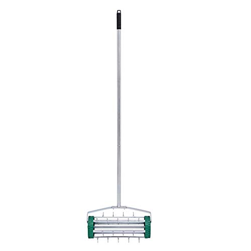 BELUPAI 18inch Rolling Lawn Aerator Gardening Tool for Grass, Soil w/Tine Spikes, 51inch Handle - Dark Green
