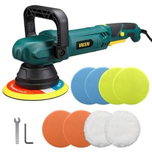 URCERI Polisher Orbital Polisher 9A 1100W 6000 RPM Buffer Dual Action Random 21mm Automotive Car Sander Waxer Adjustable D-Handle, Powerful Motor with Variable Speeds 6 Foam Pads & 2 Wool Bonnets