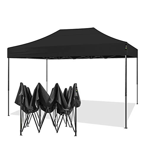 AMERICAN PHOENIX 10x15 Ez Pop Up Canopy Tent Portable Commercial Instant Canopies Outdoor Market Shelter (10'x15' (Black Frame), Black)