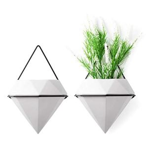 T4U Diamond Wall Planters Geometric Wall Vases Set of 2, Ceramic Mounted Succulent Air Plants Pots Cactus Faux Plant Containers Modern Indoor Decor for Home and Office, White