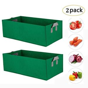 10 Gallon Grow Bags, Premium Thichkened Non-Woven Fabric Containers, Planter Bags for Potato Carrot Onion Taro Radish Peanut,2 Pack (Dark Green)