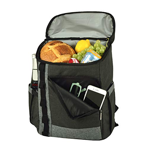 Picnic at Ascot Cooler Backpack- Large 30 Can capacity- Lightweight Insulated & Leak-Proof for Men & Women- Camping, Hiking, Beach, Park or Day Trips