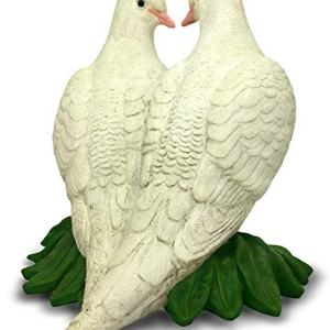LRong Toys Sculpture Forever Lovely White Doves on Leaves Garden Statue, 7.5-Inch