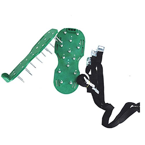 Driak 1 Pair Green Lawn Sod Aerator Spike Sandals Shoes practical Garden Tools shoes with 3 Straps and Buckles