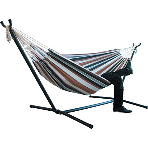 Portable Hammock Bed, Tloowy Double Hammock Swing Bed Without Space Saving Steel Stand +Portable Carrying Case for Backpacking, Travel, Beach, Yard, Patio, Outdoor, Max Weight: 450lb (Coffee)