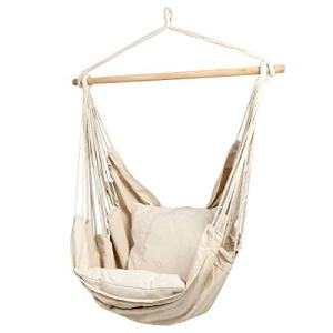 Hammock Chair | Hanging Rope Swing Seat for Indoor & Outdoor | Soft & Durable Cotton Canvas | 2 Cushions Included - Beige