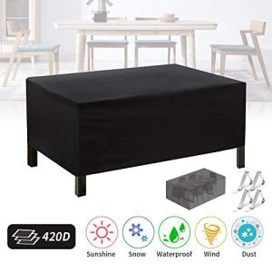 Patio Furniture Cover Outdoor, Outdoor Table Cover Rectangle 420D Garden Furniture Set Cover, UV Resistant, Tear-Resistant Windproof Dustproof Protective Cover 71x47x29inch (Black)
