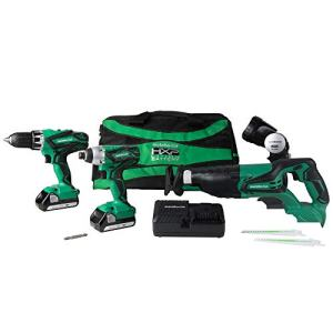Metabo HPT KC18DG4LS 18V Cordless 4-Tool Combo Kit, Hammer Drill, Impact Driver, Reciprocating Saw, LED Flashlight, and two 18V Lithium Ion Compact 1.5Ah batteries, Lifetime Tool Warranty