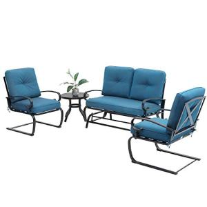 Oakmont Outdoor Furniture Patio Conversation Set Glider Loveseat, 2 Chairs with Round Side Table Spring Lounge Chair Sets Metal Frame Wrought Iron Look (Peacock Blue)