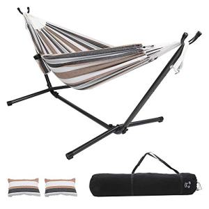 ONCLOUD Double Hammock with Stand 9ft Space Saving Steel Stand Includes Cup Holder,Two Pillows,Portable Carrying Case (Desert Stripes)