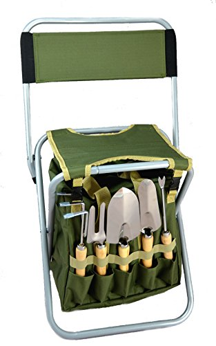 Bo-Toys 10-Piece Gardening Tool Set with Zippered Detachable Tote and Folding Stool Seat with Backrest
