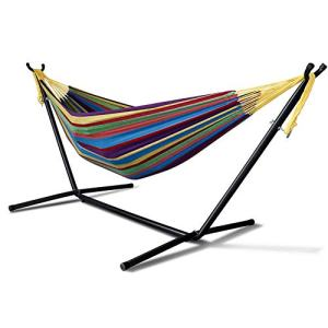 MKLEKYY Double Cotton Hammock with Space Saving 9ft Steel Stand, Heavy Duty Portable Combo for Indoor Outdoor Backyard Patio Camping, 2 Person Frame 450 lb Capacity, Storage Bag Included (Tropical)