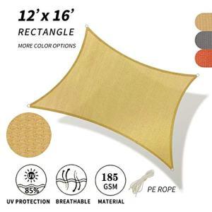 FutureLife Sun Shade Sail Rectangle Canopy - Permeable UV Block Fabric Durable Outdoor (12' x 16', Beige)