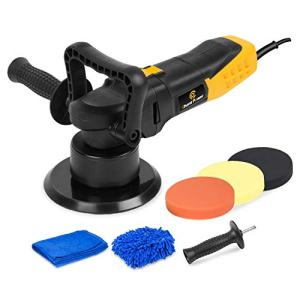 Polisher, 6 Inch Dual Action Car Polisher with Variable Speed, Detachable Handles, 3 Foam Pads for Car Sanding, Polishing, Waxing, Sealing Glaze, C P CHANTPOWER